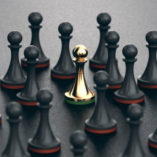 3D illustration of black pawns and focus on a golden one. Concept of uniqueness and talent.